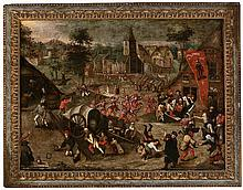 Dutch school from the last third of the 16th Century. Follower of Pieter Brueghel the Old Saint George's festivity or Kermesse