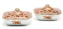 Pair of Chinese porcelain vegetable dishes, East India Company, early 19th Century Restored breakages on the lids 13x24x20.7 cm