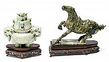 Chinese school, mid 20th Century Horse and jar Carved serpentine with wooden pedestals 16x24x7 cm (horse) and 15 cm high (jar)