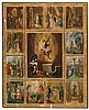 19th Century Russian school Christ's life scenes Tempera and gold-plated icon on board