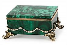 A malachite Russian box with gold-plated silver mount, from the early 20th Century Punched twice