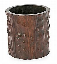Chinese school from the second third of the 20th Century A brushes pot simulating a trunk Carved rosewood