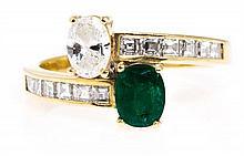 Toi et moi diamond and emerald ring