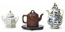 Three Chinese porcelain and ceramic teapots, 17th and 19th Centuries