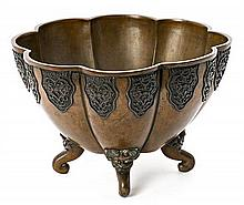 Japanese lobed bronze bowl, late 19th Century