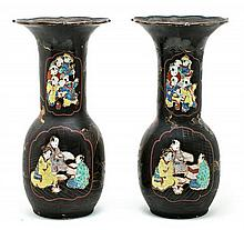 Pair of Japanese Meiji lacquered porcelain vases, 19th Century