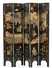 A Chinese Coromandel lacquer wood five-panel screen, from the late 19th Century