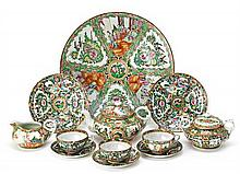 Chinese Cantonese tea set and a large porcelain plate, first third of the 20th Century