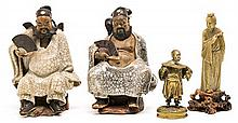A pair of men with fans and Lady, two Chinese sculptures in sandstone and soapstone, and chinoiserie gilt bronze inkwell, first third 2