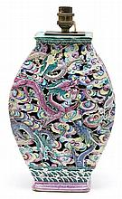 Chinese openwork porcelain base lamp, first half 20th Century