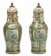 Pair of Chinese Cantonese porcelain vases, late 19th Century