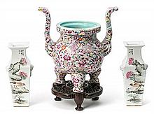 Pair of Chinese porcelain vases and Chinese censer, first half 20th Century