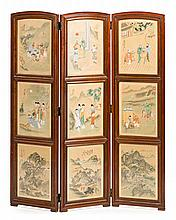 Chinese three-panel screen consisting of nine painted canvas panels in gouache, mid-20th Century