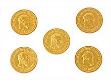Five Russian gold coins