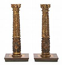 A pair of Spanish carved, gilded and polychromed wooden columns, second half 16th Century