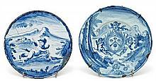 Italian Savona earthenware plate and salver, 17th Century