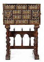 Spanish gilded walnut cabinet with engraved and inked bone inlaid and applications in gilded bronze, 17th Century