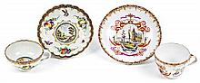 Two German and English cup and saucer porcelain sets of Dresden and Lowestoft, second half of the 18th Century