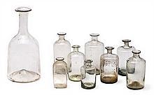 Nine Catalan blown glass bottles, late 18th Century-19th Century