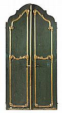Pair of Spanish carved, painted and gilded wood doors, mid-18th Century