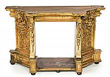 Spanish carved, gilt and polychromed wood prayer stool, 18th Century