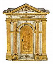 French Empire painted and gilded wood tabernacle of architectural structure, early 19th Century