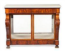 Spanish Ferdinand mahogany and mahogany palm cabinet-console, circa 1830