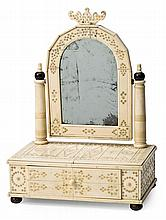 Small Indian bone vanity desktop with tilting mirror, early 20th Century