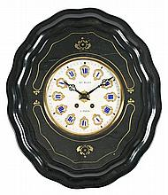 Napoleon III clock with dial in marble and brass and ebonised box inlaid with brass, third quarter 19th Century