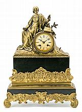 French Louis Philippe gilt bronze and marble table clock, second quarter 19th Century