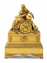French Restoration gilded bronze table clock, second quarter 19th Century
