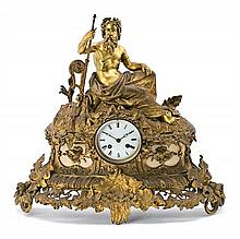 French Napoleon III gilt bronze and marble table clock, last third 19th Century