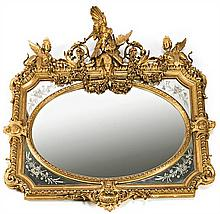 French Napoleon III mirror with carved, and stucco and gilt wood frame and etched mirrors,  third quarter 19th Century