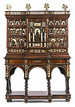 Spanish Flemish style cabinet in walnut and oak inlaid with bone and imitation tortoiseshell and gilded bronze applications, late 19th