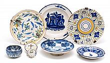Valencian earthenware bowl, four plates, salver and blessing font, late 19th Century-early 20th Century