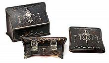 Set of English tortoiseshell, silver threads and leather writing pieces and inkstand, circa 1912