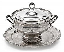 Spanish silver tureen and tray set, mid-20th Century