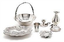 Spanish silver and glass basket, serving dish, centrepiece, candlestick, vase, glass and salt cellar, mid-20th Century