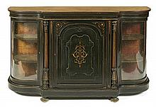 Napoleon III style sideboard-display in ebonised wood with satinwood marquetry and gilt bronze applications, early 20th Century