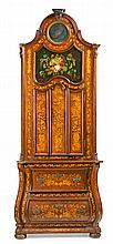 Dutch style cabinet in walnut and mahogany with fine woods inlaid, late 19th Century-early 20th Century