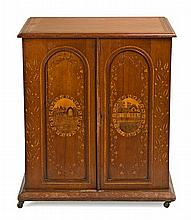 Victorian style low cupboard in mahogany and marquetry of fine woods, late 19th Century