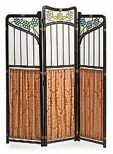 Modernist three leaves screen in mahogany and leaded stained cathedral glass, early 20th Century