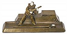 French School circa 1920  Inkwell and letter opener with Pierrot figure