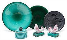 Talleres Serra  Pair of pigeons, box and three plates