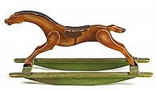 Rocking horse toy in cut and painted wood, circa 1930