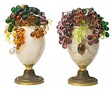 Pair of table lamps Baccarat style in alabaster and polychrome glass clusters, circa 1940-1950