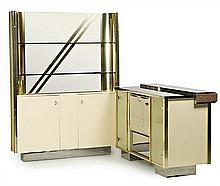 Italian bar-display and auxiliary shelf Romeo Rega style consisting of 2 different modules in chromed metal, brass, glass and steel