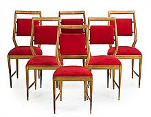 Set of six chairs in beech and current reupholstering, circa 1950
