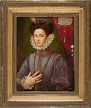 Attributed to Spanish school, 17th Century  Portrait of Joan of Banares and Cuesta