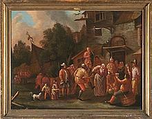 Flemish School, circa 1700. Follower of Andries Both  Dance at an inn